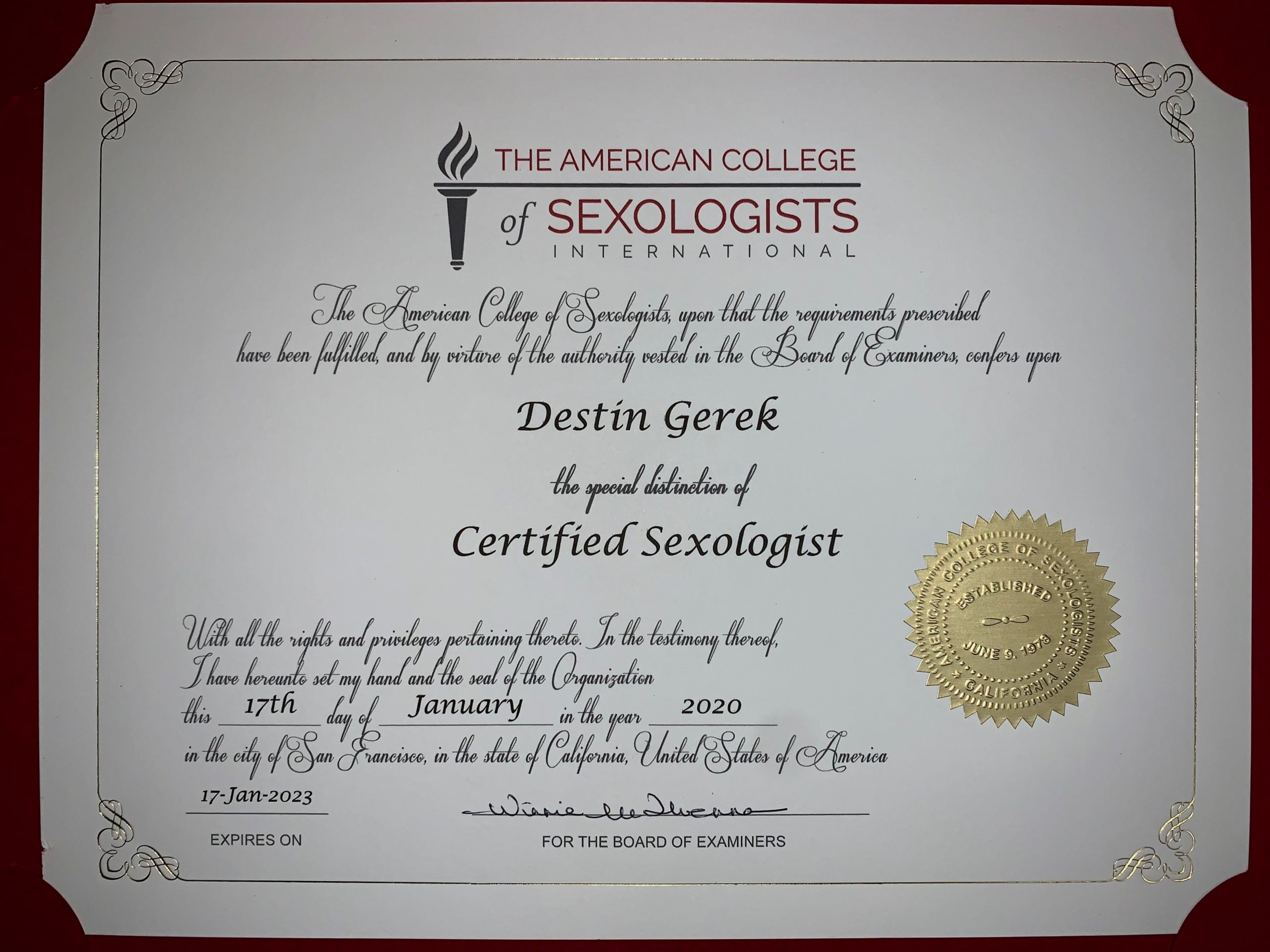 Certificate from the American College of Sexologists International